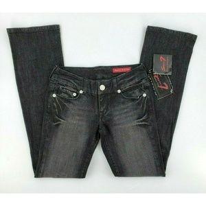 Seven7 Regular Boot Cut Black Denim Jeans New Tags